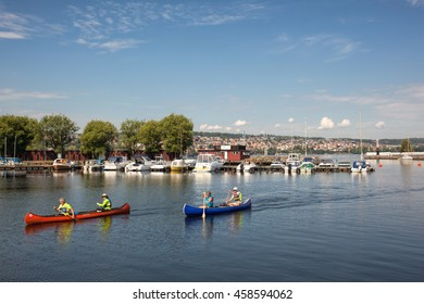 Jonkoping, Sweden - Jul 24, 2016 : Scene of the beautiful Jonkoping city, which is situated by the end of the huge lake Vattern. Vattern is the second largest lake in Sweden and the sixth in Europe.