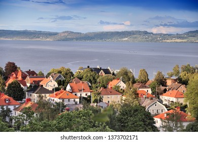 Jonkoping town residential area with lake Vattern in Sweden. Smaland province.