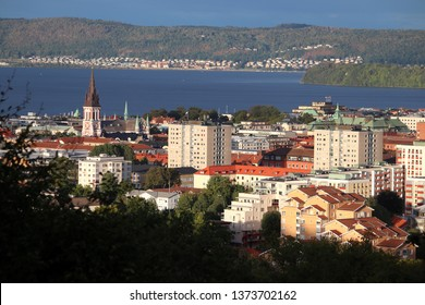 Jonkoping town skyline with lake Vattern in Sweden. Smaland province.