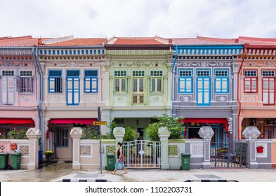 "Joo Chiat, Singapore- February 2, 2017: Colourful ""Peranakan"" House. The word 'Peranakan' used by the local people of the Malay Archipelagos to address foreign immigrants whom established families in"