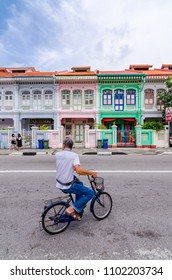 """Joo Chiat, Singapore- February 2, 2017: Colourful """"Peranakan"""" House. The word 'Peranakan' used by the local people of the Malay Archipelagos to address foreign immigrants whom established families in"""