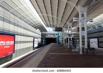 Joondalup, Perth - Nov 9, 2015: Passenger on platforms at the railway station of Joondalup, Perth. Joondalup railway station is a railway station on the Transperth network.