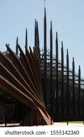 Joondalup, Western Australia / Australia - August 14 2015: Sculptured building with spikey points