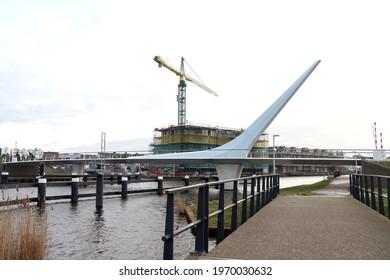 The Joop van der Reijdenbrug bridge over the old rhine in Valkenburg in the Netherlands