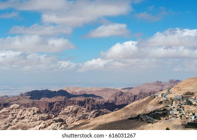 Jordan, 03/10/2013: the jordanian landscape with mountains, vegetation and desert seen from the hills of Petra, the historical and archaeological city famous worldwide for its rock-cut architecture