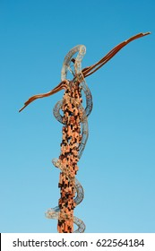 Jordan 05/10/2013: Brazen Serpent Monument, sculpture by Giovanni Fantoni, on the top of the Mount Nebo, mentioned in the Hebrew Bible as the place where Moses was granted a view of the Promised Land