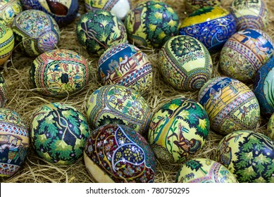 JORDAN, AMMAN - 11 JANUARY 2017: Traditional Arabic folk paintings on ostrich eggs on the eastern market.