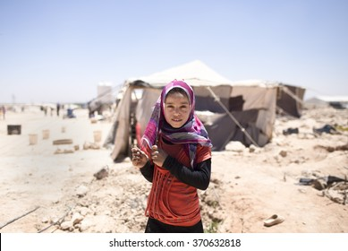 Jordan , Amman 14 / June / 2015    A girl living in a refugee camp of the Syrian refugees.