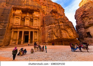 JORDAN, Ancient Petra - 10 JANUARY 2017:Tourist complex of the ancient city of Petra with tourists and locals