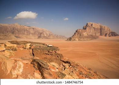 Jordan desert Wadi Rum scenery landscape with sand valley and stone bare rocks and mountains