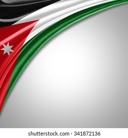 Jordan flag  of  silk with copyspace for your text or images