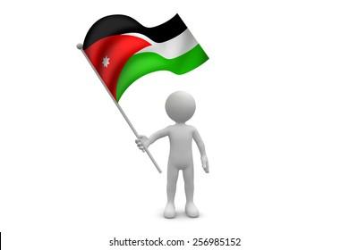 Jordan Flag waving isolated on white background