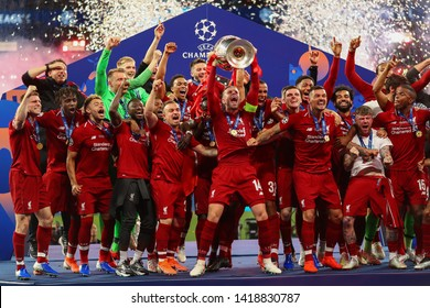 Jordan Henderson of Liverpool celebrates after winning UEFA Champions League - Tottenham Hotspur v Liverpool, UEFA Champions League Final 2019, Wanda Metropolitano Stadium, Madrid - 1st June 2019