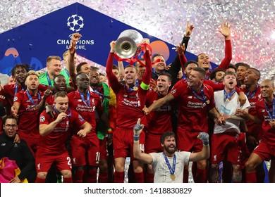 Jordan Henderson of Liverpool celebrates with the trophy - Tottenham Hotspur v Liverpool, UEFA Champions League Final 2019, Wanda Metropolitano Stadium, Madrid - 1st June 2019