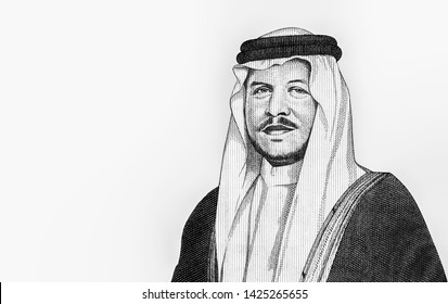Jordan King Abdullah II bin Al-Hussein face portrait from money 50 DinarJordan 2014-18 Banknote. Jordanian money. Dinar is the national currency of Jordanian. Close Up UNC Uncirculated - Collection.