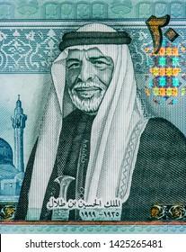 Jordan king Hussein bin Talal portrait on 20 Jordanian Dinar Banknote, Middle East money 20 DinarJordan Banknote. Dinar is the national currency of Jordanian. Close Up UNC Uncirculated - Collection
