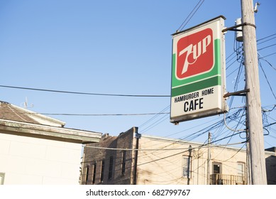 Jordan, Minnesota, United States - April 6, 2017: Classic and old 7 Up cafe sign on street in old Minnesotan town.