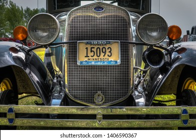 JORDAN, MN -  AUGUST 3, 2018: 1930 Ford Model A automobile grill and bumper. The Model A was Ford second market success and featured an engine which produced top speeds of around 65 mph (105km/h).