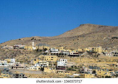 Jordan, mountain village with mosque near Wadi Musa