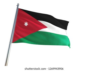 Jordan National Flag waving in the wind, isolated white background. High Definition