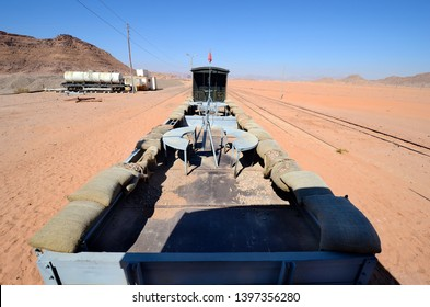 Jordan, nostalgic armed railway waggon with former machine gun defence position in Wadi Rum station