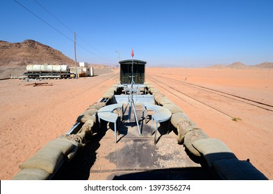 Jordan, old armed railway waggon with former machine gun defence position in Wadi Rum station