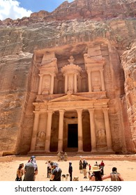 Jordan, Petra / June 17, 2019: Originally known to its inhabitants as Raqmu, a historical and archaeological city in southern Jordan. Petra was named among the New 7 Wonders of the World.