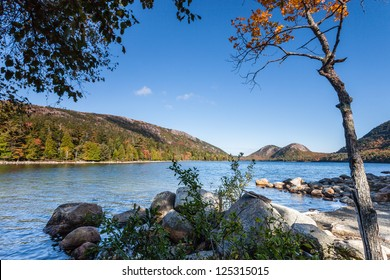 Jordan pond in Autumn, Acadia National Park, Maine, USA