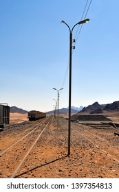 Jordan, rails and waggons in old Wadi Rum station