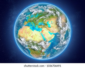 Jordan in red on model of planet Earth with clouds and atmosphere in space. 3D illustration. Elements of this image furnished by NASA.