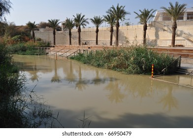Jordan river & palms in Palestine