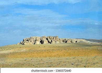 Jordan, rock formation in arid landscape near Aqaba