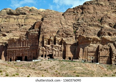 Jordan, royal tombs in  UNESCO World Heritage site of ancient Petra, a preferred travel destination in Middle East