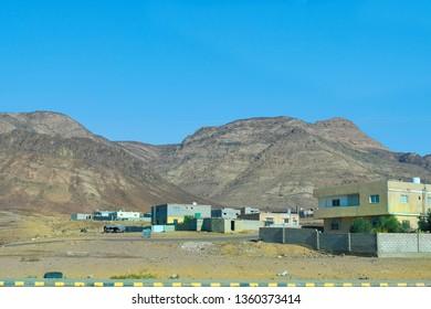 Jordan, rural village in arid landscape near Aqaba