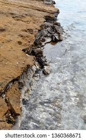 Jordan, salt deposit on shore of Dead Sea
