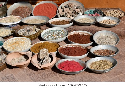 Jordan, souvenir shop with different spice, incense and other goods in ancient Petra