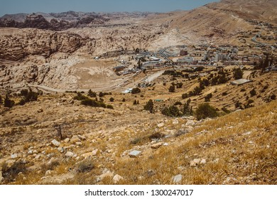 Jordan. View on the mount Horun where is located the Aaron tomb. Aaron, the brother of Moses was buried on Jabal Harun, or Aaron's Mountain, near Petra