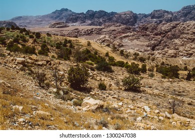 Jordan. View on the mount Horun where located Aaron tomb at warm evening light. Aaron, the brother of Moses was buried on Jabal Harun, or Aaron's Mountain, near Petra