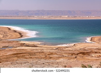JORDAN: View over the Dead Sea with mountains from Israel in the background
