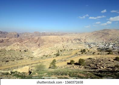 Jordan, Wadi Musa town and desert landscape in Masuda Proposed Reserve