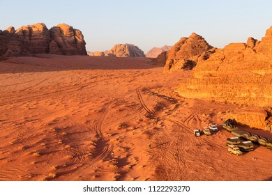 in jordan the wadi rum desert and the bedouin  tent near  sunrise