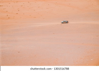 JORDAN, WADI RUM DESERT, May 2018: Off-road car in Wadi Rum desert, Hashemite Kingdom of Jordan. Wadi Rum, also known as Valley of the Moon. Wadi is a term traditionally referring to a valley