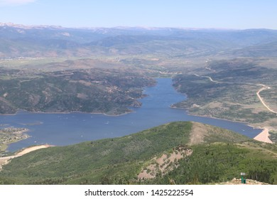 Jordanelle Reservoir with the countryside of Wasatch County as seen from Deer Valley resort in Park City, Utah