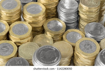 Jordanian currency metal golden and silver coins