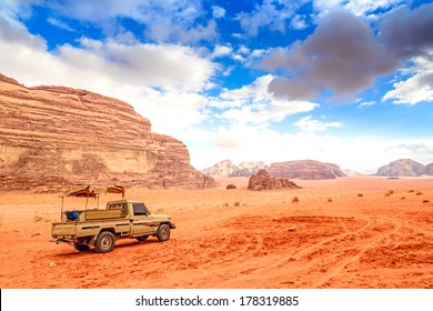 Jordanian desert in Wadi Rum, Jordan. Wadi Rum has led to its designation as a UNESCO World Heritage Site. It is known as The Valley of the Moon.