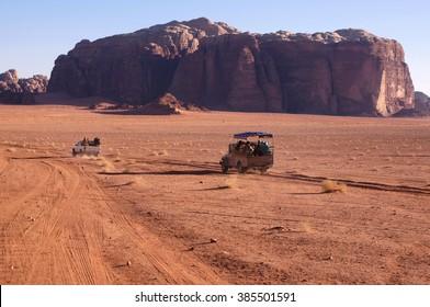 Jordanian desert in Wadi Rum, Jordan.