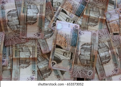 "Jordanian dinar banknotes background ""50"" values"