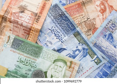 Jordanian dinars, banknotes with kings portraits, background photo