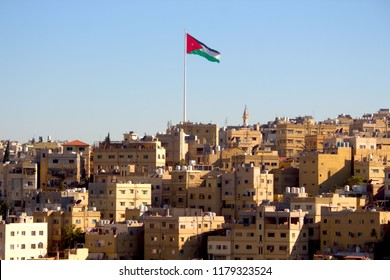 Jordanian flag in city