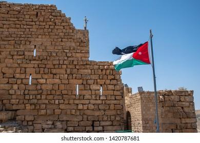 Jordanian flag flying over Kerak Castle